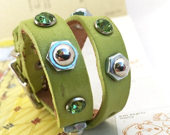 Celery Green Leather Dog Collar with Crystals and Industrial Studs, Size XS, to fit a 8-10in Neck, Tiny Dog Collar, USA Seattle Handmade