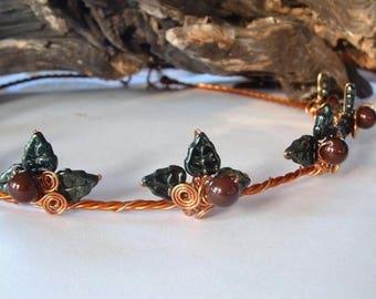 ON SALE Renaissance Woodland  Yule Leaf Tiara Crown