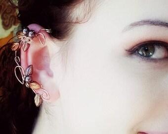ON SALE Art Nouveau Ear Cuff Wrap Autumn Cornucopia Ear Dreams Ear Climber Ear Jacket No Piercing Nickel Free Earrings
