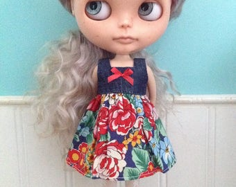 Dress for Blythe - Denim and Liberty Tana Lawn #3