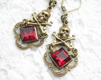 Garnet Red Glass Skull and Crossbones Earrings Antiqued Brass Dangle Earrings