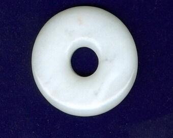 PI DAY SALE White Gemstone Focal, 45mm White Jade Gemstone Pi Donut Focal Pendant Bead 1207B