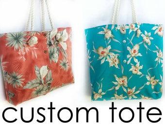 Custom XL keepsake tote handmade from your special shirt, memory heirloom bag, vacation travel tote, ID# VT16
