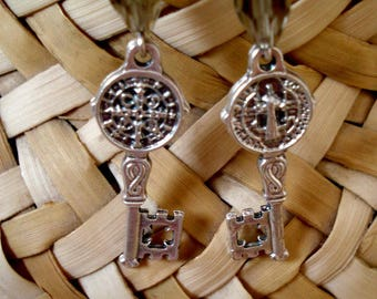 Double Sided Croatian Religious Key Earrings with Smoky Glass Crystals