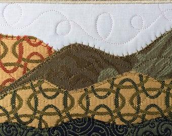 Rustic Quilt Art - Landscape Art - Fabric Postcard - Small Quilt Landscape - Landscape Art - Outdoor Nature Postcard - Gift for Him