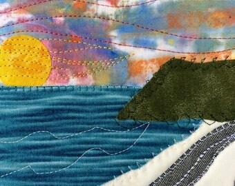 Travel Keepsake - Landscape Art - Beach Landscape - Art Quilt - Gift for Her - Fiber Art - Fabric Postcard - Beach Sunset  - Greeting Card