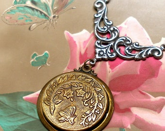 Antique Butterfly BUTTON Necklace, Art Nouveau insect with flowers in brass setting.