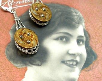 1800s BUTTON earrings, Victorian cut steel swirls on silver. Antique button jewellery.
