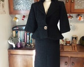 Amazing Vintage Late-1940's - Early 1950's Lilli Ann Inky Black Boucle Suit