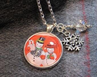 Happy Snowman Couple Necklace