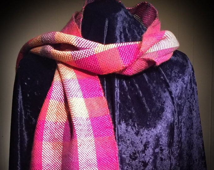 Girls Scarf, women scarf, ladies scarf, plaid scarf, gift, Handmade, Handwoven, For Her, For Girlfriend, Present for Her, Gift for her, PINK