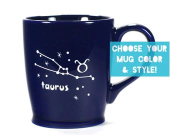 Taurus Zodiac Constellation Mug - Choose Your Cup Color