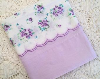 Purple Floral Vintage Pillowcase - Dolly Madison - All Cotton Case- Farmhouse Linens - Petite Flowers