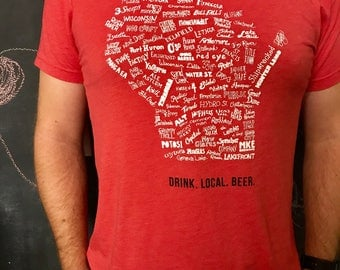 Drink Local Beer Unisex T-shirt (Red)