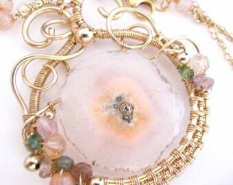 SUMMER SALE The Shy Rose - Quartz Stalactite Set with White Topaz, Tourmaline, Sapphire, Quartz and Gold