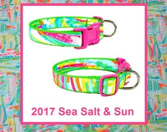 2017 SEA SALT & SUN Dog Collar and/or Leash on Green with Bow or Flower Option Made from Lilly Pulitzer Fabric Size: Your Choice
