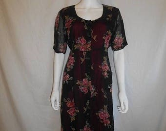90s black long rayon floral dress    Small/Medium