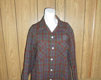 Closing Shop 40%off SALE Closing Shop Sale 40 Percent Off Vintage Clothing mens  40s 50s WOOL button up Plaid long sleeve Shirt