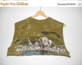 Closing Shop 40%off SALE Wild Animals   cut off reworked women's  half cropped tank shirt   green