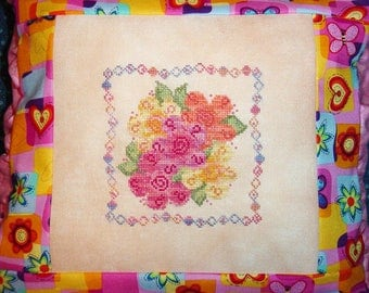 Rainbow Sherbet Flowers Cross Stitch PDF Pattern