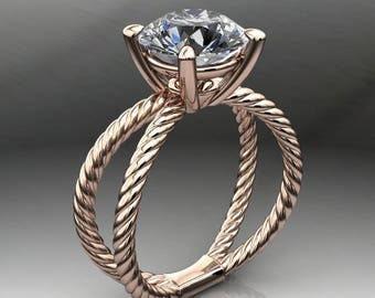 Private Listing for Sara - custom raven ring - 2.2 carat diamond cut round NEO moissanite engagement ring, payment 1 of 3