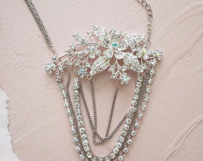 Art Deco Wedding Headpiece Bridal Head chain Crystal Flower Headpiece Great Gatsby Vintage Bohemian Bride Head Chain Leaf Rhinestone