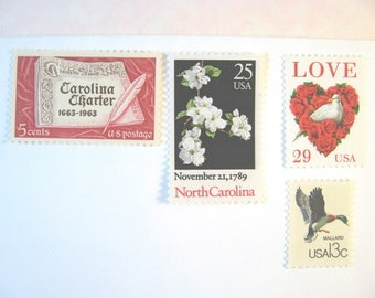 North Carolina Wedding Postage Stamps, Love White Dove - Dogwood - Red and White Stamps, Mail 20 Wedding Invitations 2 oz, 70 cents postage