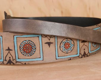 Replacement Purse Strap - Leather Guitar Strap Crossbody Handbag Strap in the Duomo Pattern - Sage, Burgundy and Antique Black