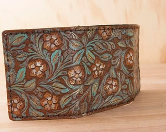 Tooled Leather Trifold Wallet - Mens or Womens wallet with Traditional Western Floral Tooling - Pressed Pattern in Sage, Gold and Brown