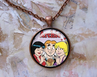 Archie, Betty and Veronica, pendant, gift box, vintage images, photo pendant, Archie comics, retro jewelry,ready to ship today