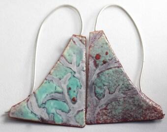 Aqua Green Blade Enamel Earrings - OOAK - Hand painted botanical motif