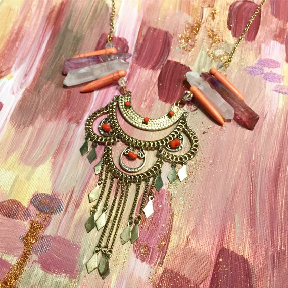 Katy Necklace Vintage Mixed Media Crystal and Stone Statement Necklace