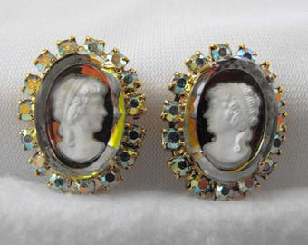 Vintage Earrings, Cameo, Intaglio, Aurora Borealis, Gold Plated, Clip-on, ca 1970s NT-1174