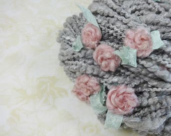 Handspun Art Yarn with Felted Flowers 54 yards silver gray pink roses