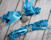 Turquoise Butterfly Wedding Garter Set with Personalized Engraving and Rhinestone Butterflies