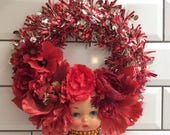 Gorgeous 'Red Hot Betty' OOAK Doll Face Kitsch Christmas Wreath Pin Up Retro
