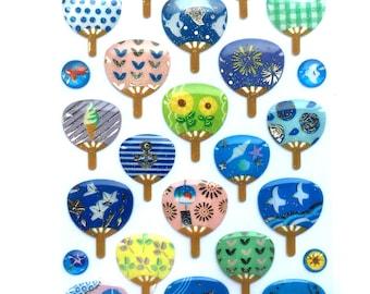 Summer  Stickers -  Japanese Stickers -  Fan Stickers  (S114)