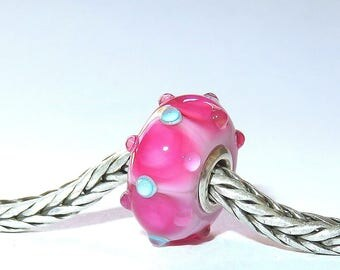 Luccicare Lampwork Bead - Pink VI -  Lined with Sterling Silver