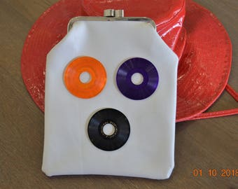 Vintage Purse,Vinyl mini colored Record's Clutch ,60's 70's Bag  Fi Pollitoi Piel  Rosf  JINGLE OF BELLS 7, Studio Display