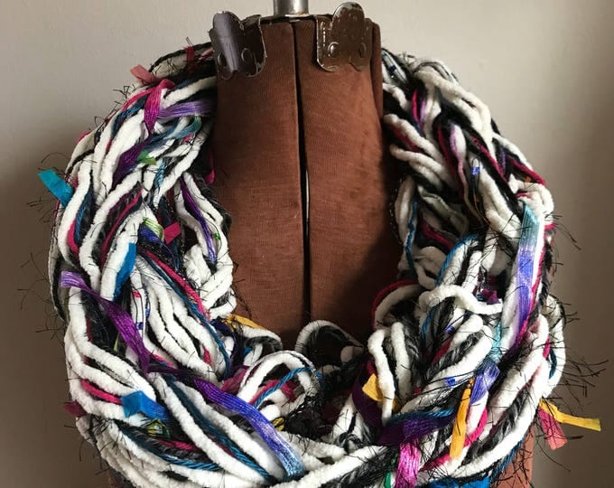 White, Bright and Colorful Chunky Cowl -  textured handknit bulky cowl, ready to ship, bulky lightweight warm oversized cowl