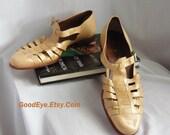 Mens Italian Dress Sandals Shoes / R. MARTENGANI Leather Boutique / size 9 .5 D Eu 42 43 UK 9 / Khaki Beige HANDMADE Italy / never worn