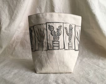 storage, fabric pot, fabric bin, fabric bucket, linoprint, blockprint, handcarved, bin, fabric pouch, decor, kids, home, cactus