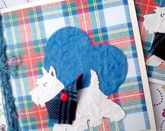 Scottish  Westie Dog with Tartan Bandana Greetings Card, Birthday Card, Scottie Dog