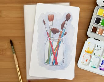 Paintbrushes Watercolor Illustration Shitajiki Pencil Board Notebook for Traveler's Notebook