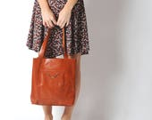 Dark orange varnished leather shopping tote bag, with two pockets, Gift for women, Womens burnt orange tote bag, MALAM