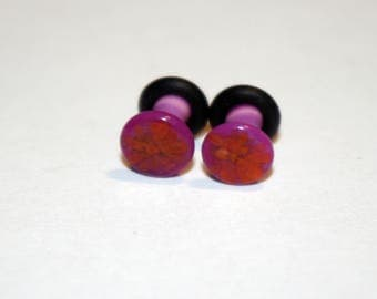 7g Pink and Red glass ear plugs body jewelry handmade new  gauge