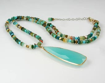 Multi Color Gemstone Necklace with Removable Peru Chalcedony Bezel Pendant Turquoise