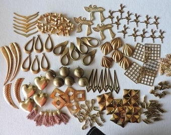 Vintage lot brass beads, pendants, stampings - destash - jewelry making supplies - copper, brass, gold plate -bulk pricing - FREE shipping