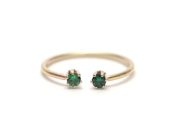 Emerald Two Stone Ring, Dainty Stone Stacking Ring, Ethical Emerald Ring, Stackable Gemstone Ring - Emerald Twin Ring