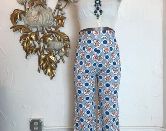 1970s pants vintage pants highwaist pants size x small polka dots pants 25 waist straight leg pants